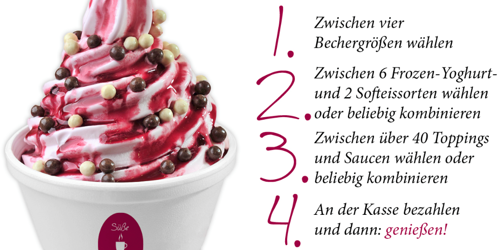 In 4 einfachen Schritten kommt man an unseren leckeren Frozen Yoghurt.